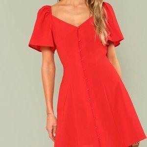 NWOT Red Puff/Flutter Sleeve Dress